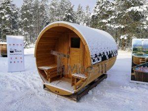 udendørs tønde sauna med terrasse