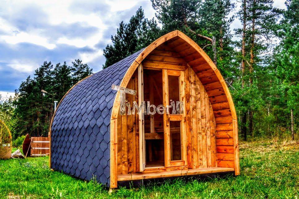 campinghytter træhytte med et varmt karbad